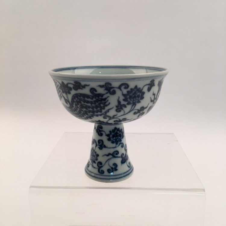 Chinese Blue and White Phonix Cup - 4