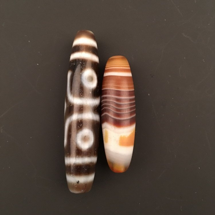 Two Piece of Tibetan DZI Beads