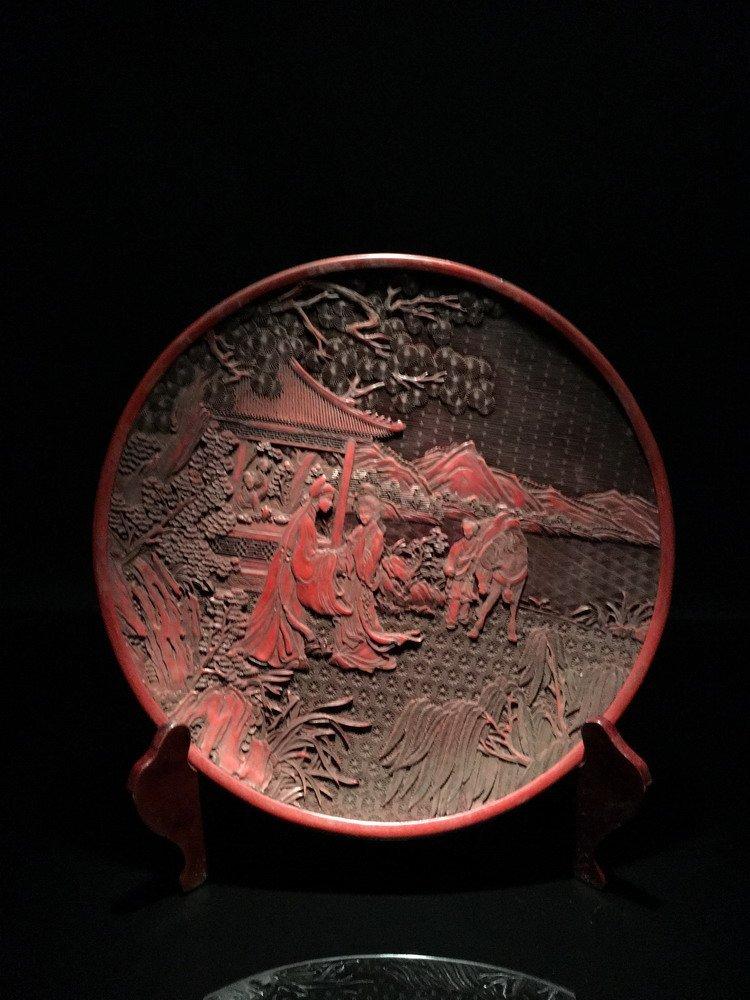Fine Chinese Cinnabar Plate, Zhangdejiang Mark