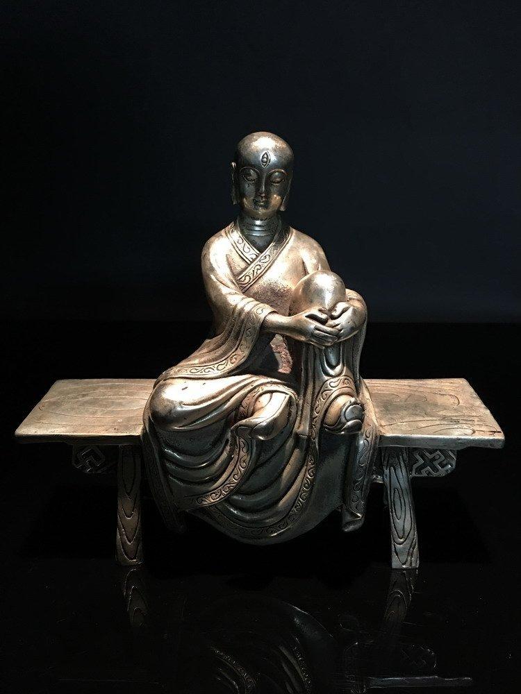 Chinese Silver Seated Buddha