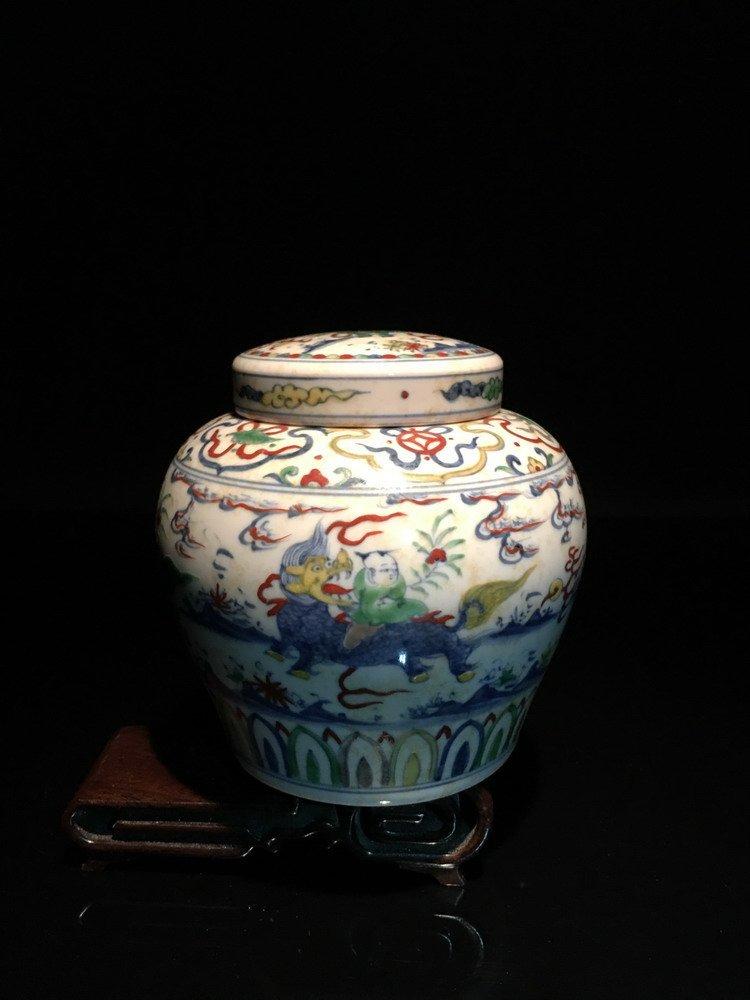 Chinese Wucai Jar with Tian Mark