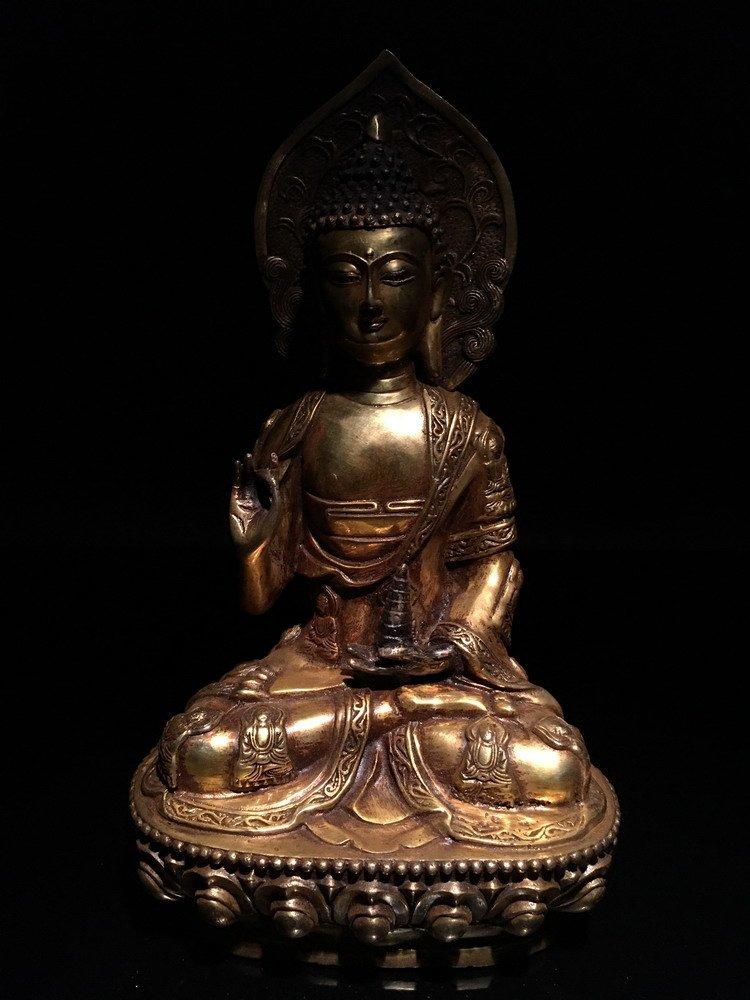 Fine Chinese Gilt Bronze Buddha - 7