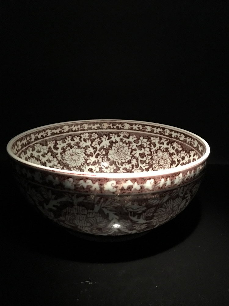 Chinese Copper Red Flower Bowl