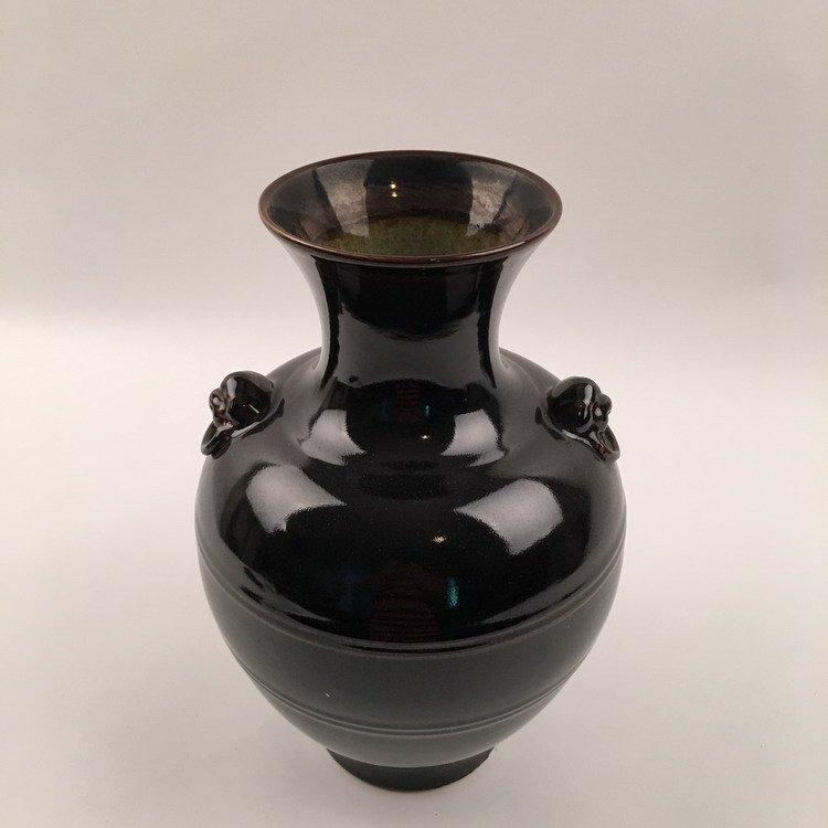 Yongzheng Mark.  Chinese Black Glazed Vase - 3