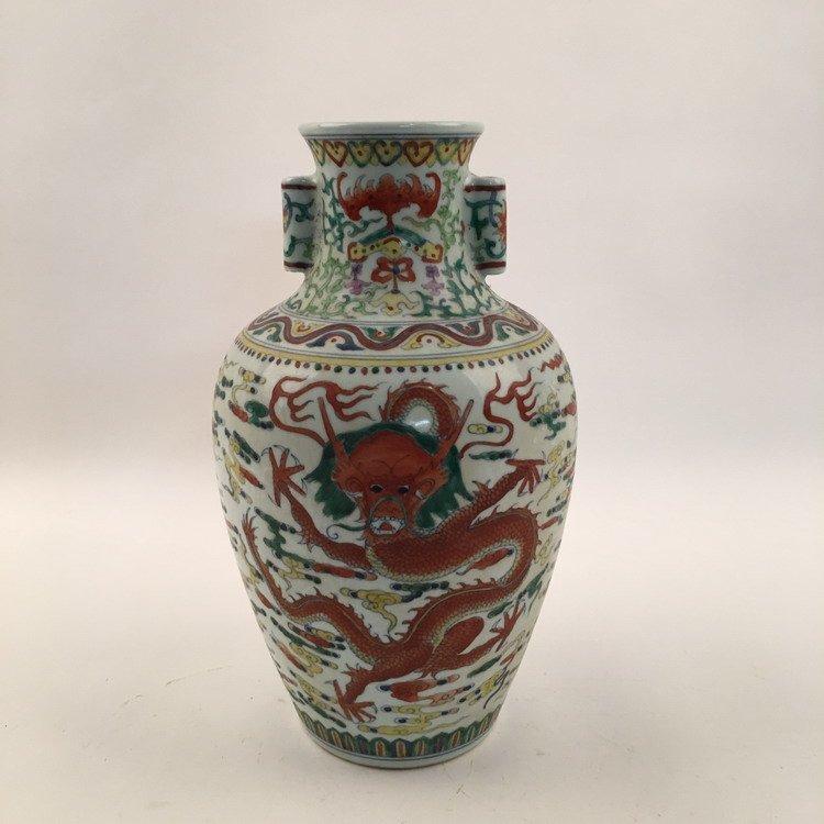 Qianlong Mark, Fine Wucai Dragon Vase
