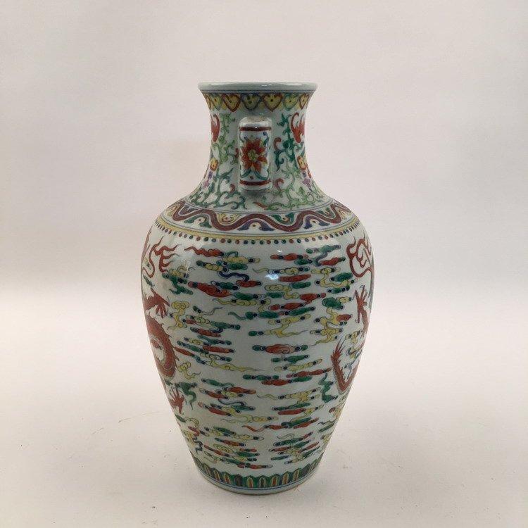 Qianlong Mark, Fine Wucai Dragon Vase - 2