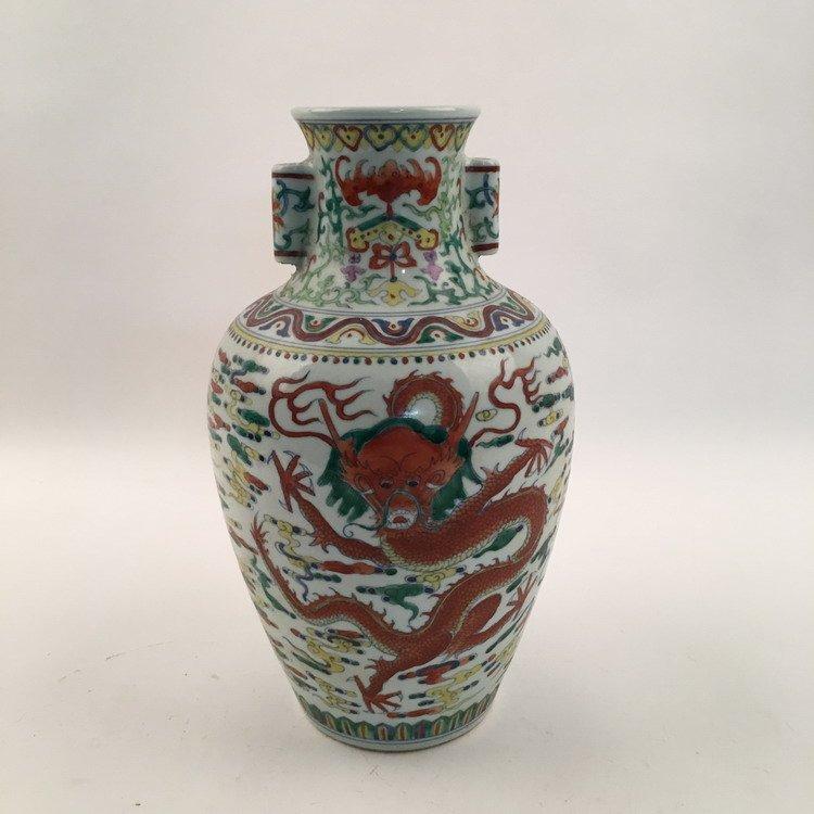 Qianlong Mark, Fine Wucai Dragon Vase - 3