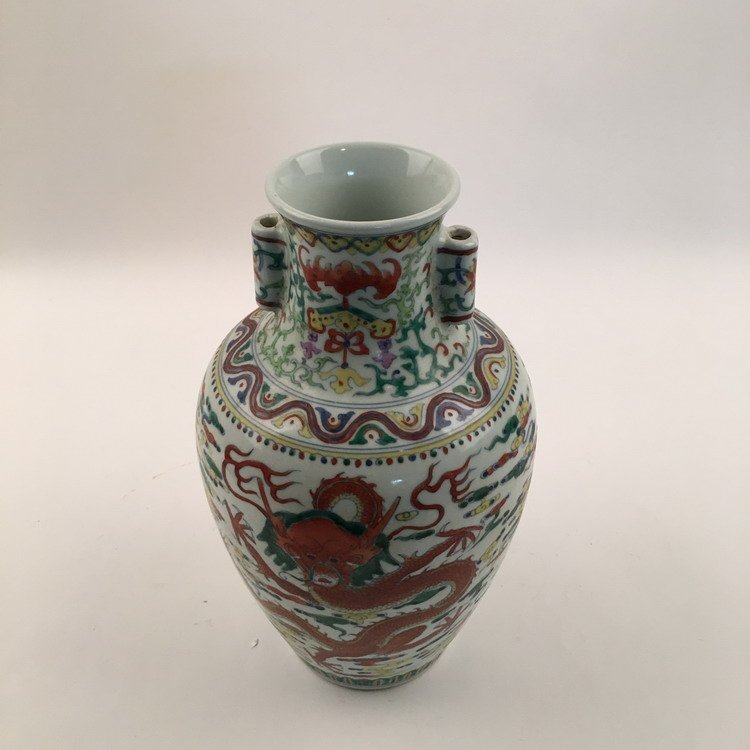 Qianlong Mark, Fine Wucai Dragon Vase - 4