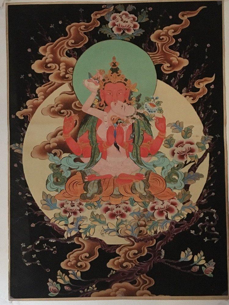 Fine Tibetan Thangka watercolor