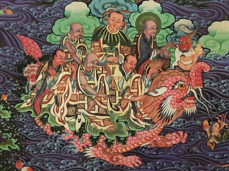 Fine Tibetan Thangka watercolor - 7