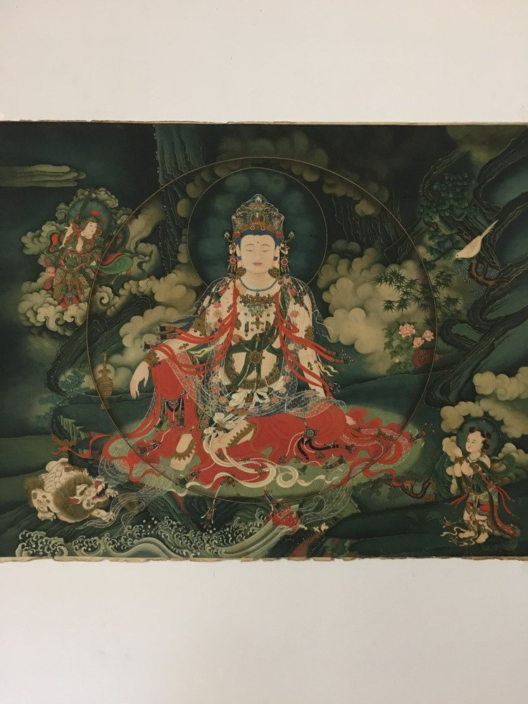 Fine Tibetan Thangka watercolor