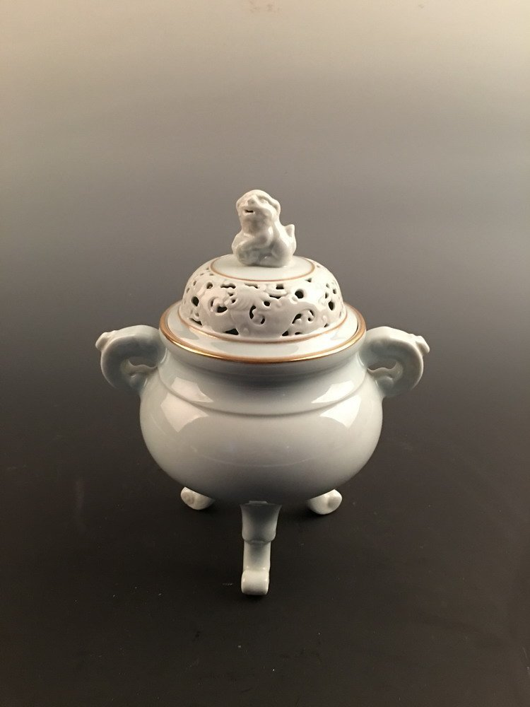 chinese Light Blue Glaze Censer With Qianlong Mark