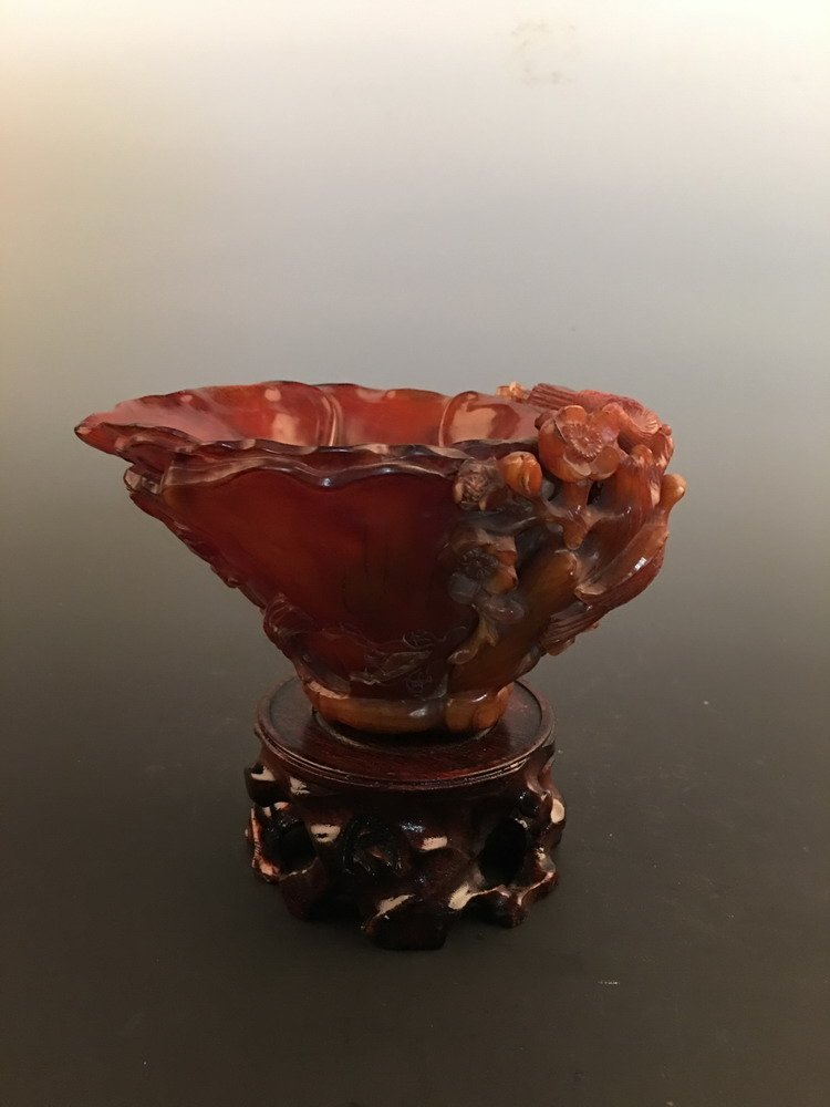Chinese Ox Horn Carved Cup