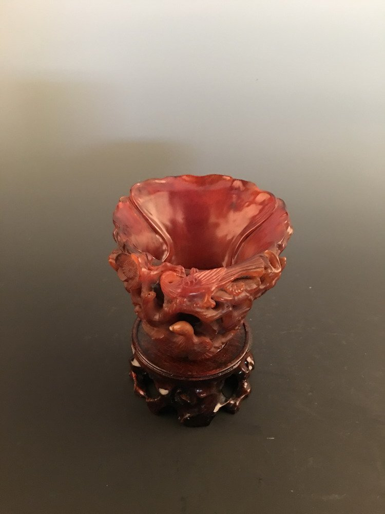 Chinese Ox Horn Carved Cup - 4