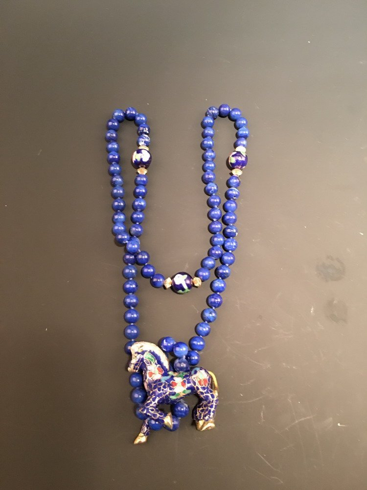 Chinese Blue Stone Horse Necklace with Horse Pendant