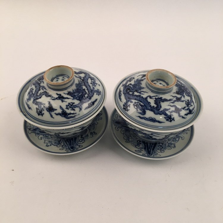 Pair Chinese Blue and White Teacups