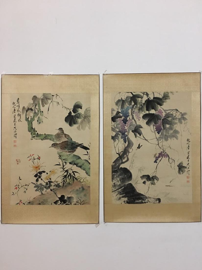2 Piece Chinese Watercolor Painting