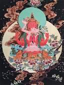 Fine Tibetan Watercolor Thangka Painting