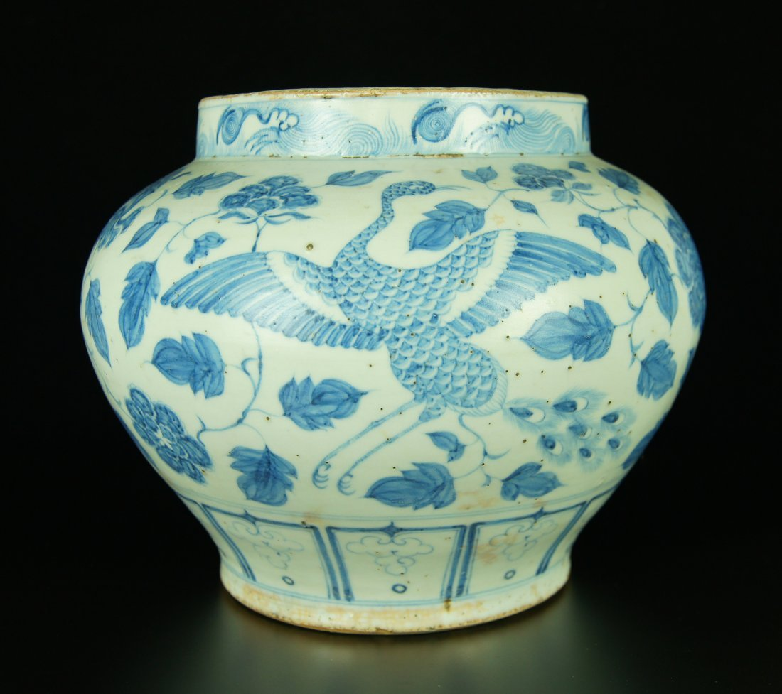 Huge Chinese Blue and White Porcelain Pot / Jar