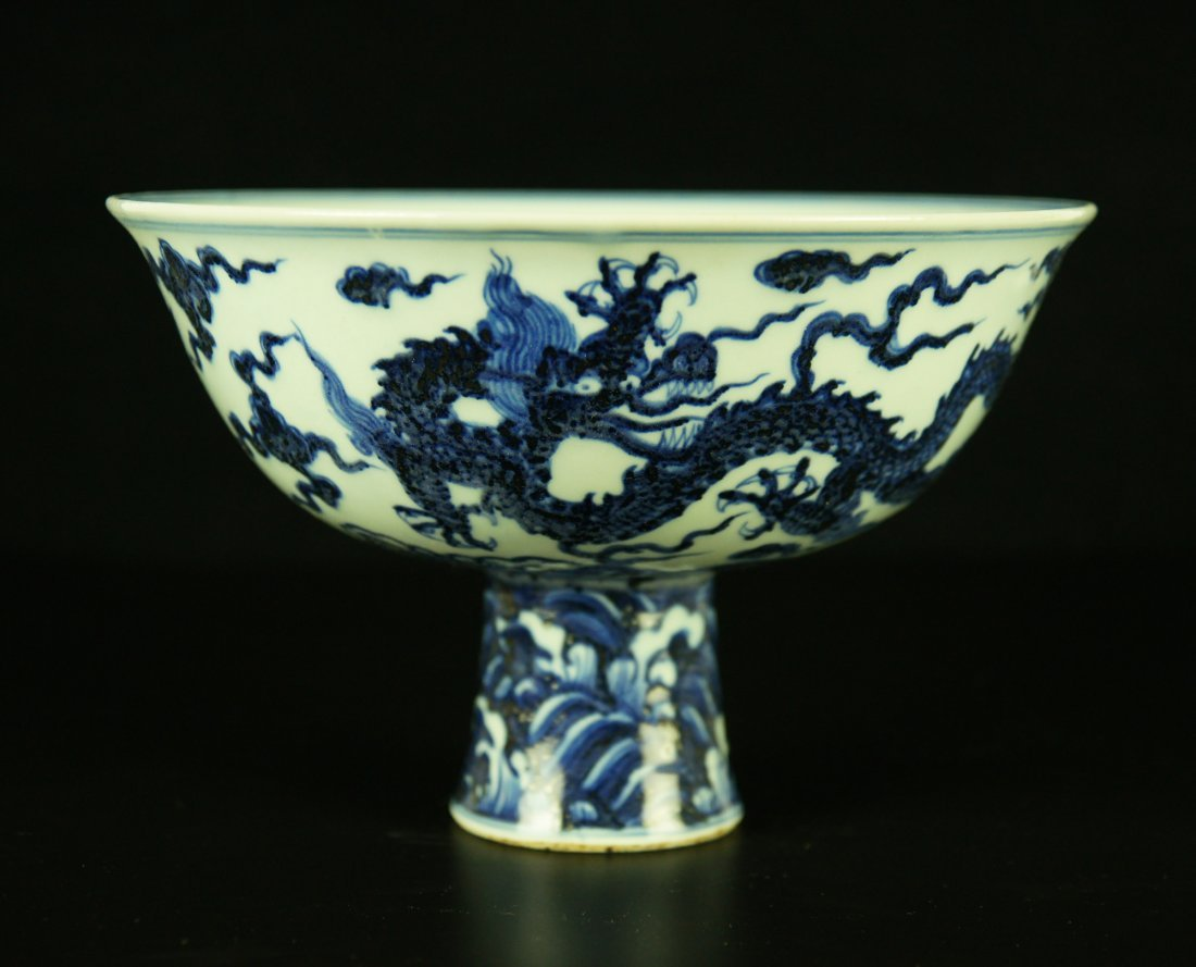 Big Chinese Blue and White Porcelain High Foot Cup
