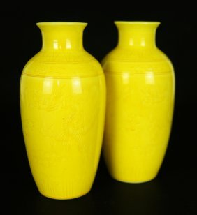 Pair Chinese Yellow Glaze Porcelain Vase