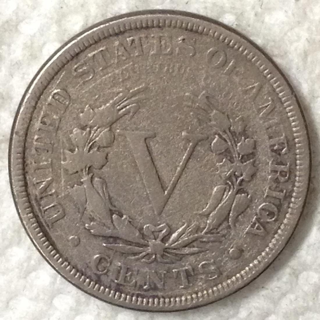 1886 5C VF DETAIL SHARP DETAIL BUT SCRATCHES. KEY DATE - 2