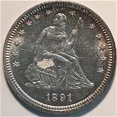 1891 25C MS63 BRILLIANT AND FROSTY! VERY CHOICE.