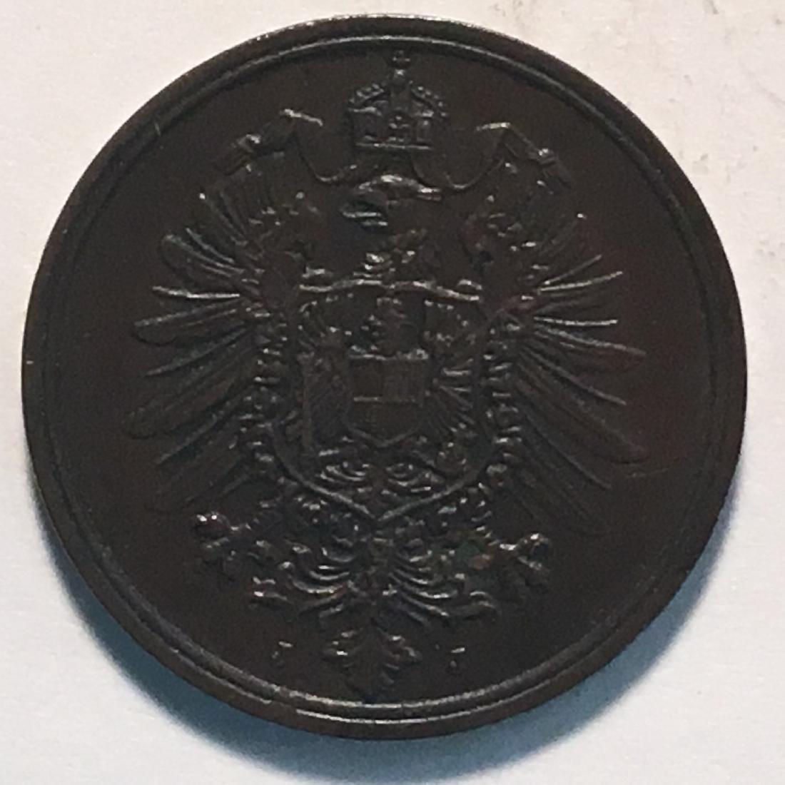 1875 GERMANY 2 PFENNIG AU-UNC