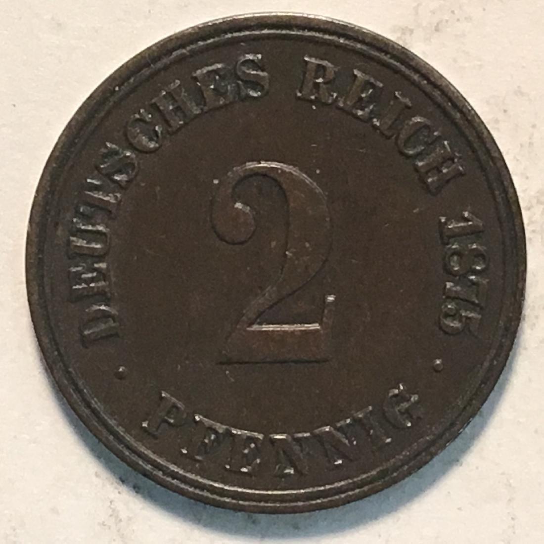 1875 GERMANY 2 PFENNIG AU-UNC - 2