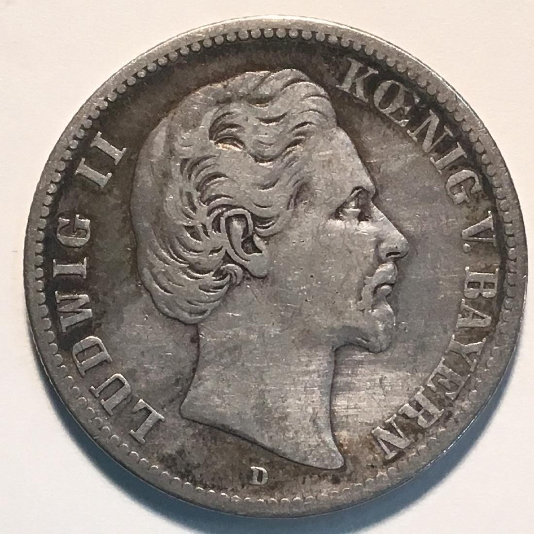 1876 GERMANY-BAVARIA 2 MARK CHVF .900 SILVER. .3215