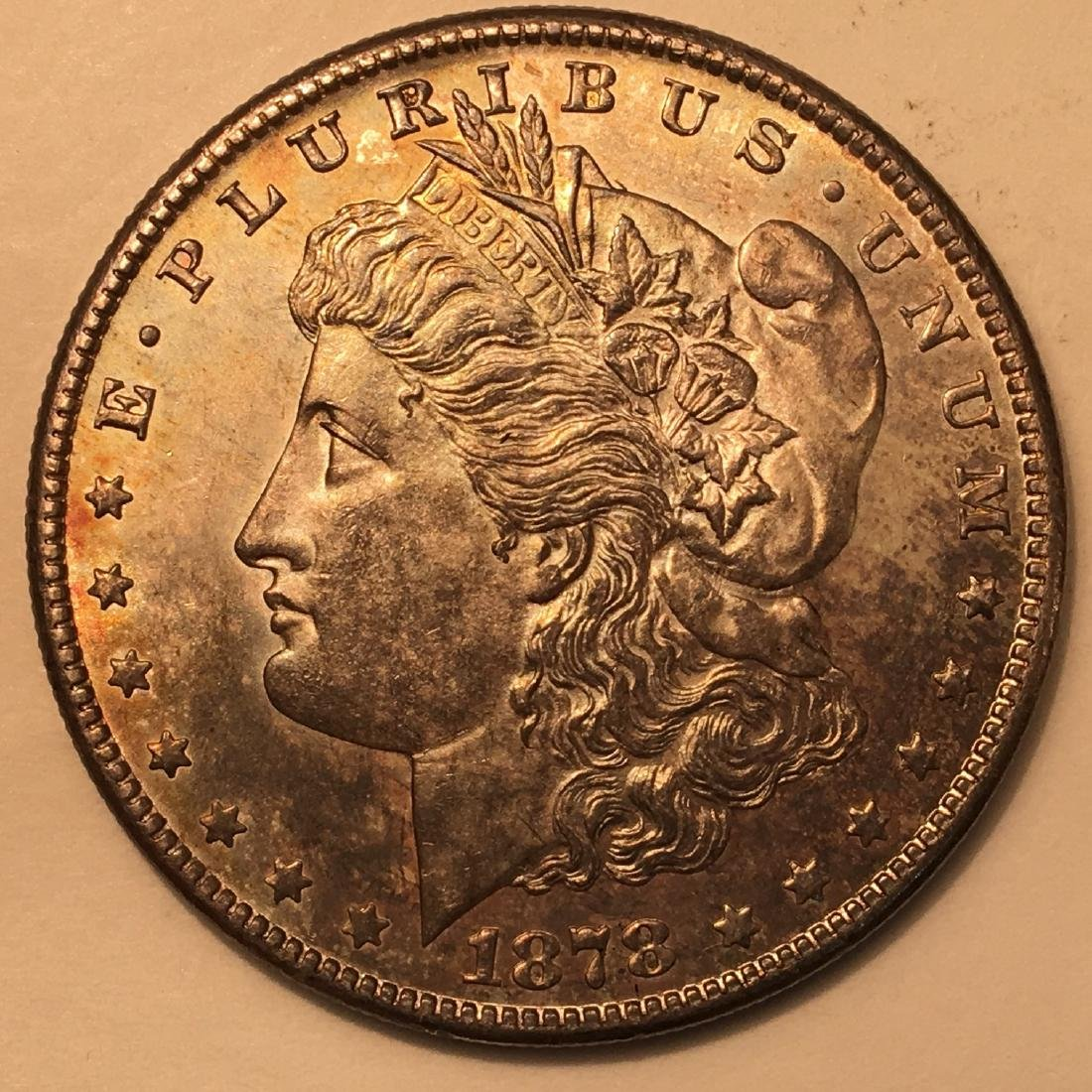 1878 -S S$1 MS63 LOVELY RAINBOW TONING!