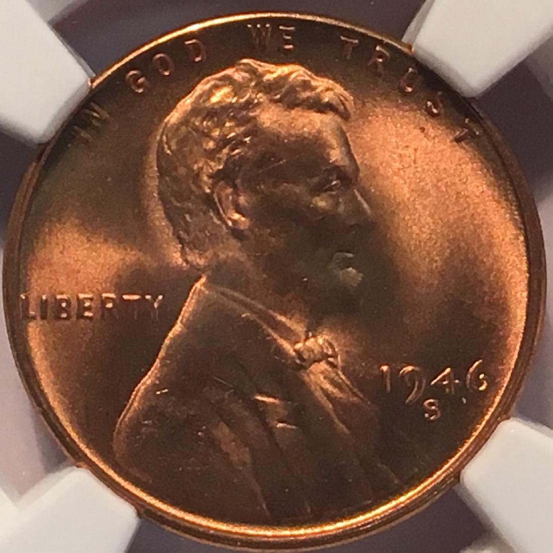 1946 -S 1C NGC MS67 RD VERY SCARCE NGC LISTS THIS AT