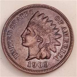 1909 -S INDIAN 1C CHVF30+ NEARLY XF, SHARP.