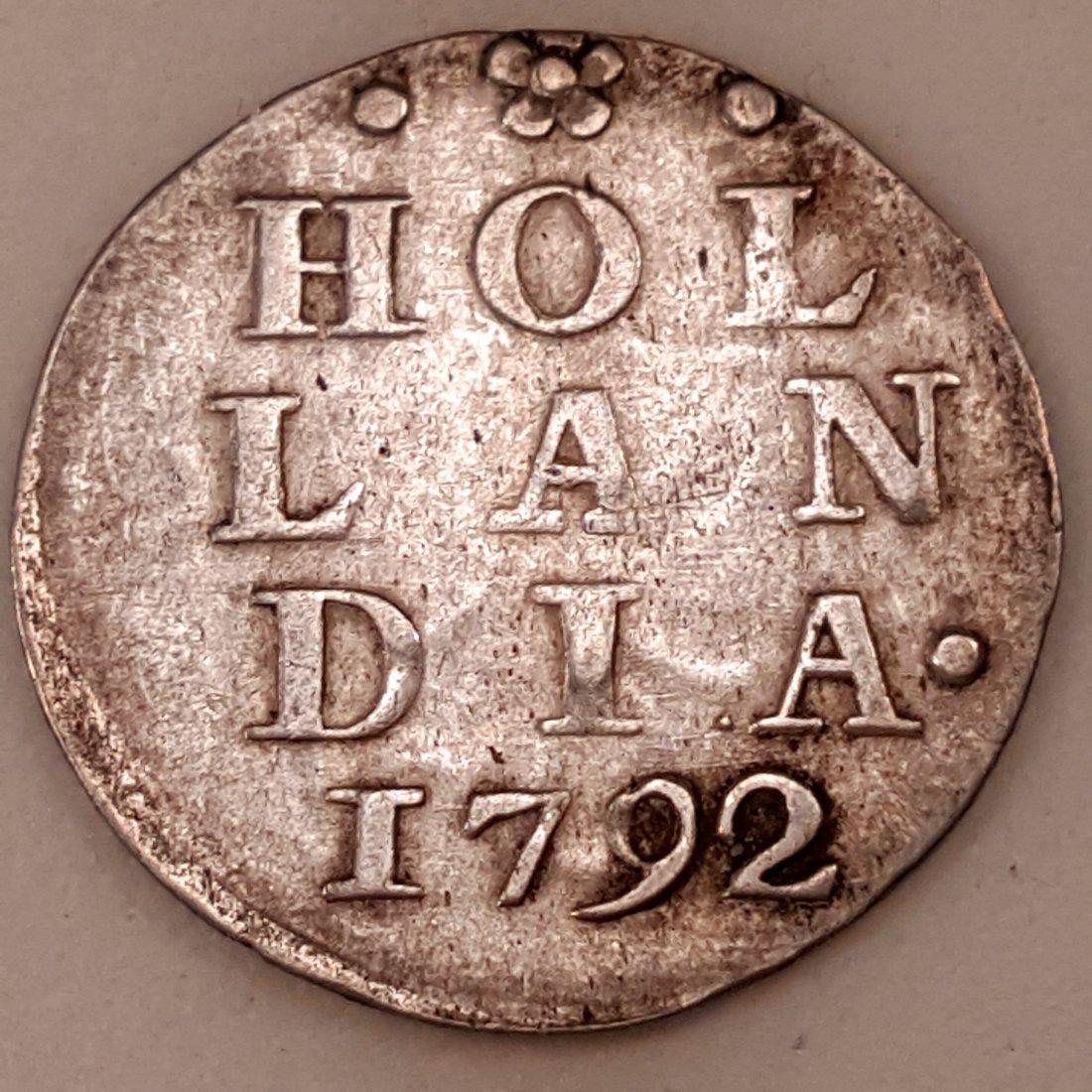 1792 NETHERLANDS 2 STUIVER VF+ HOLLAND