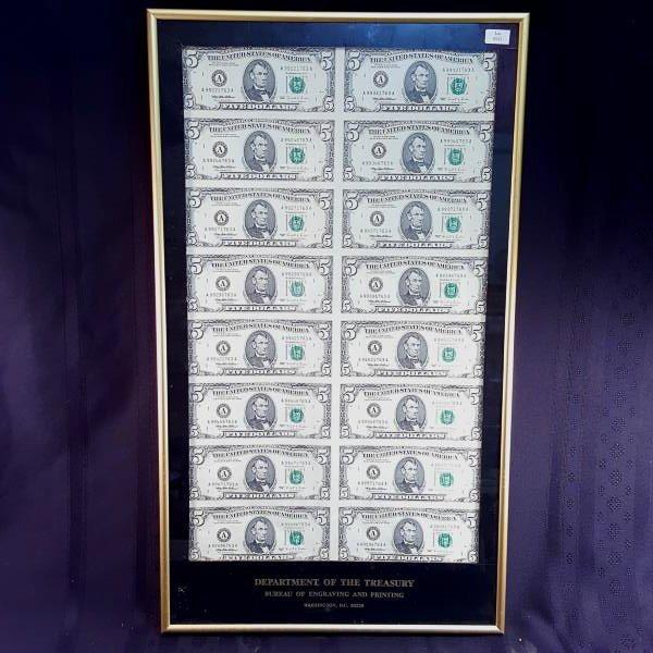 1995 16 NOTE UNCUT SHEET $5 A/A FRN CU - FRAMED