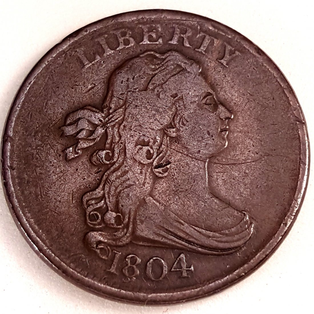 1804 1/2 CENT VF CROSSLET 4 WITH STEMS
