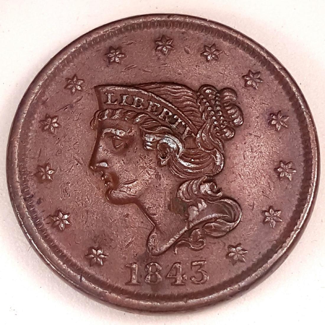 1843 1C PETITE HEAD, REVERSE OF 44 -AU