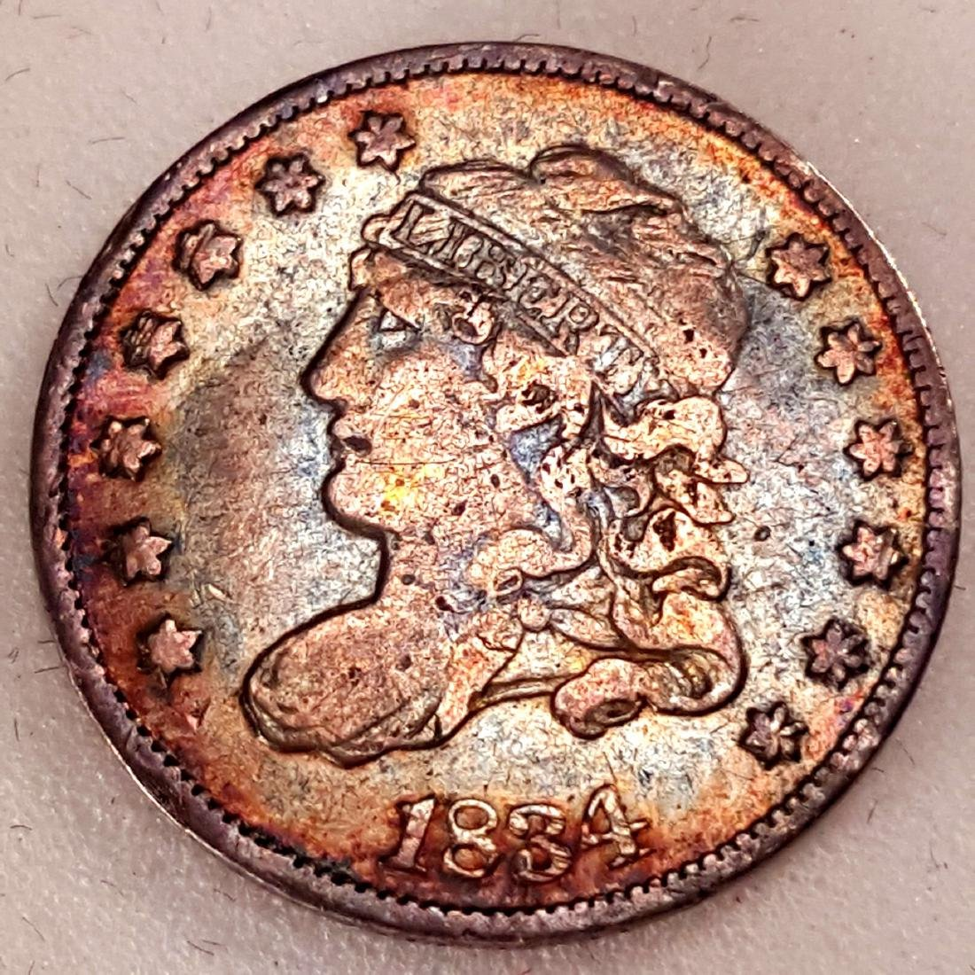 1834 1/2 DIME VF