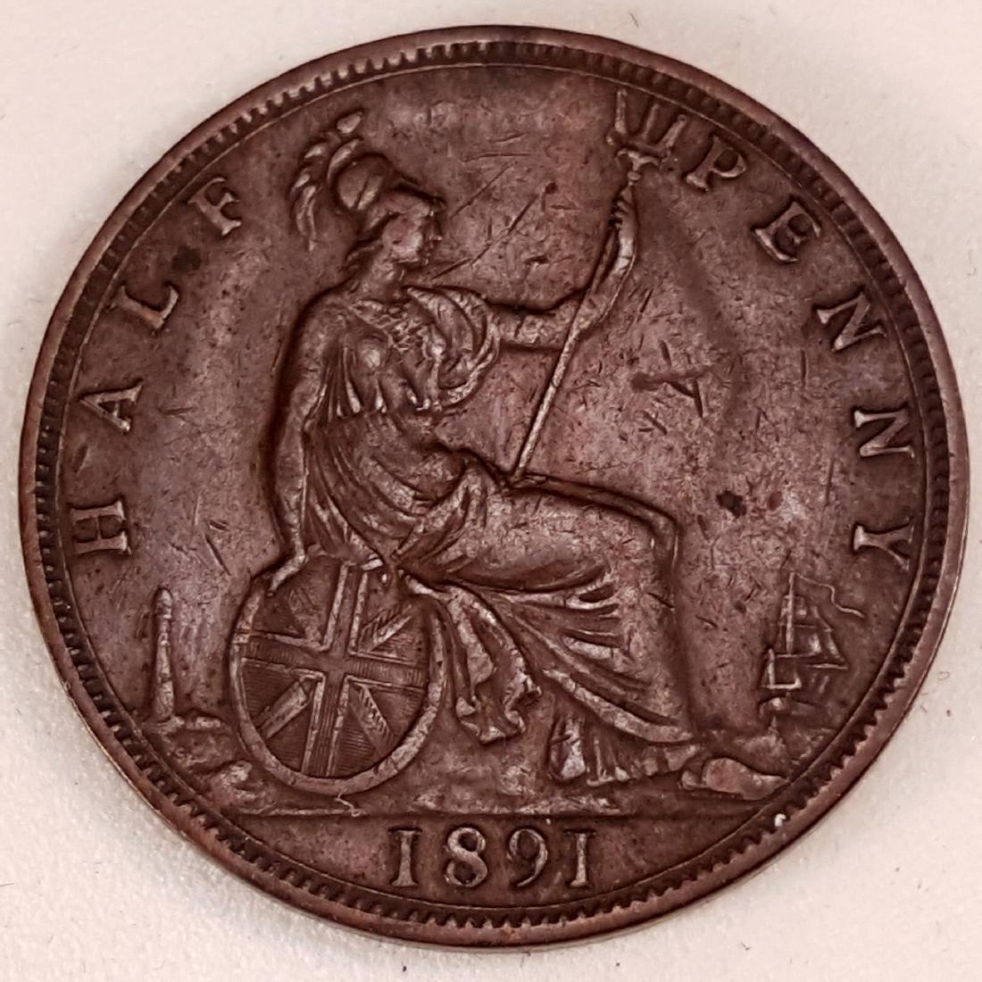 1891 GR.BRITAIN HALF PENNY VF-XF