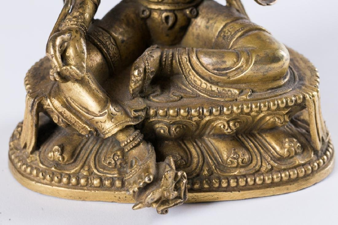 A GILT BRONZE FIGURE OF BUDDHA, - 10