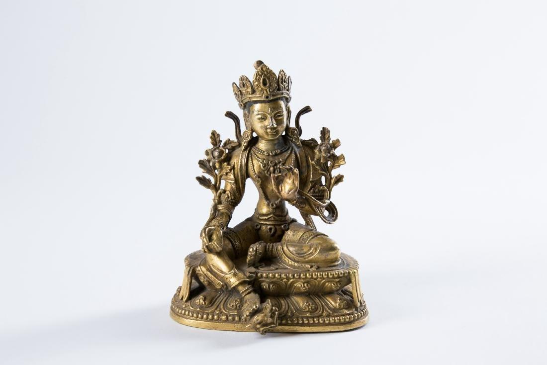 A GILT BRONZE FIGURE OF BUDDHA,