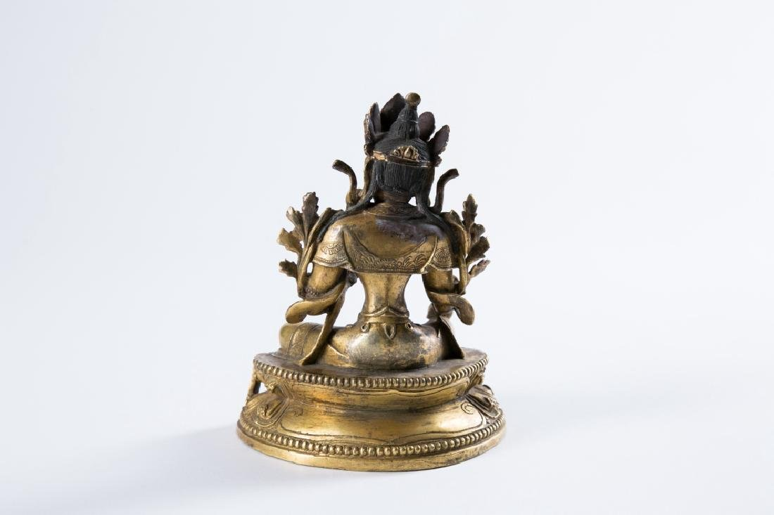 A GILT BRONZE FIGURE OF BUDDHA, - 5