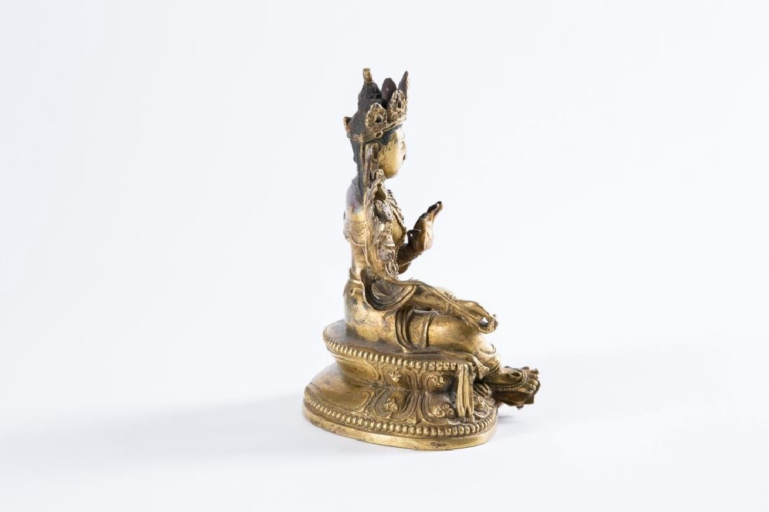 A GILT BRONZE FIGURE OF BUDDHA, - 7