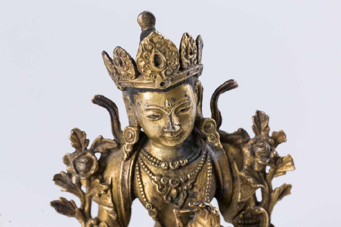 A GILT BRONZE FIGURE OF BUDDHA, - 8