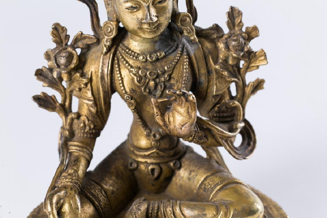A GILT BRONZE FIGURE OF BUDDHA, - 9