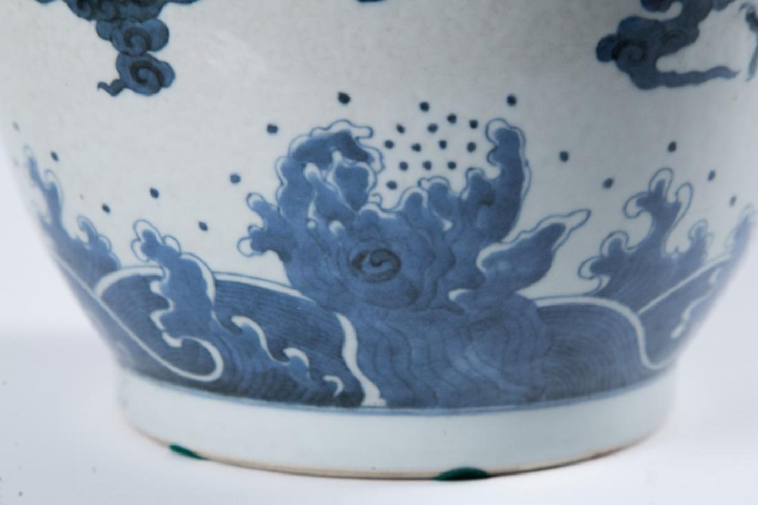 A BLUE AND WHITE 'DRAGON' ROULEAU VASE, QING DYNAY - 10