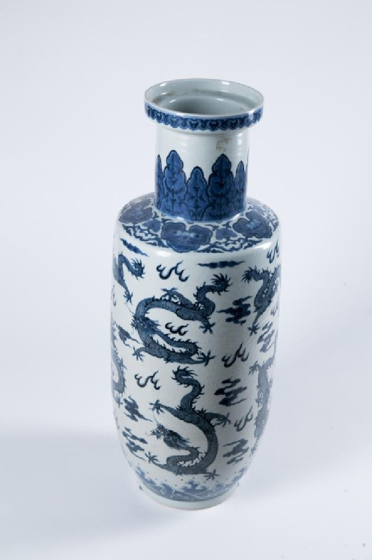 A BLUE AND WHITE 'DRAGON' ROULEAU VASE, QING DYNAY - 2