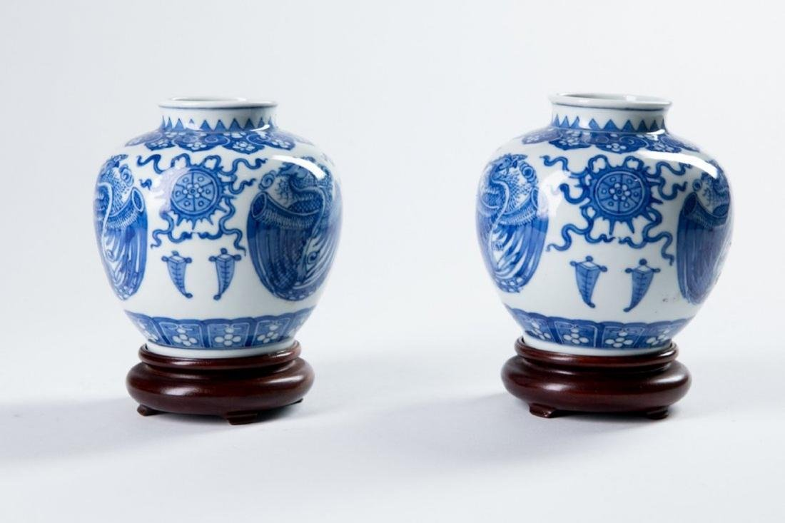 A PAIR OF CHINESE BLUE AND WHITE PORCELAIN JARS,