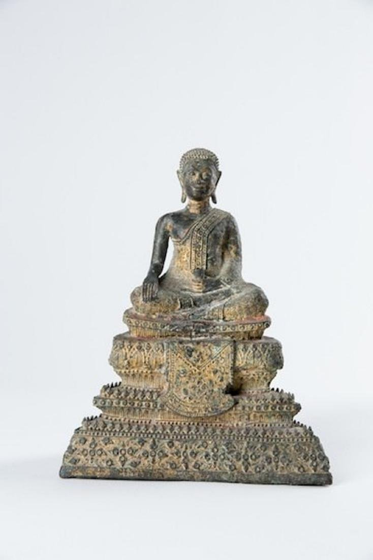 A SOUTH EAST ASIAN BRONZE BUDDHA, 19TH CENTURY