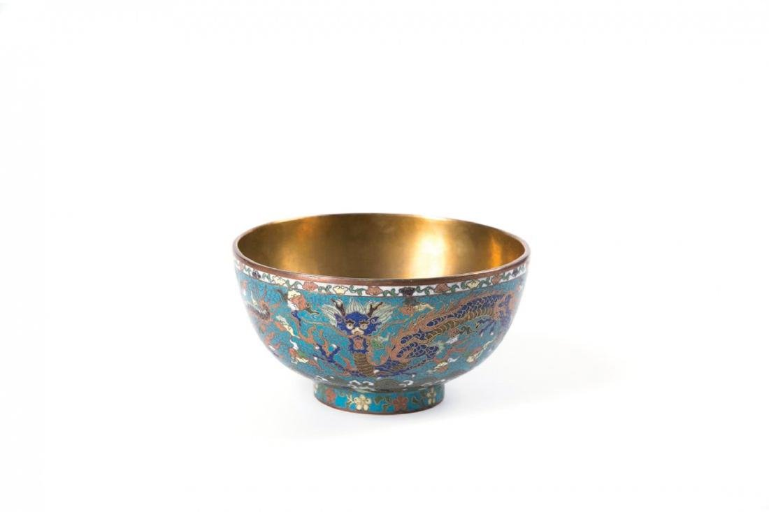 A LARGE IMPERIAL CHINESE CLOISONNE BOWL WITH DRAGONS